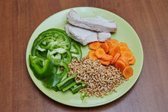 A galinha ou o peru cozinhado fresco, duas fatias que encontram-se em um verde plat foto de stock royalty free