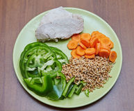 A galinha ou o peru cozinhado fresco, duas fatias que encontram-se em um verde plat imagens de stock