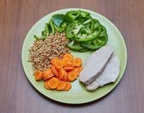 A galinha ou o peru cozinhado fresco, duas fatias que encontram-se em um verde plat imagem de stock