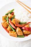 Galinha picante com os feijões verdes dos vegetais e o ascendente próximo da pimenta vermelha e do arroz foto de stock royalty free