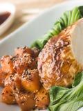Galinha Roasted soja em Pac cozinhado Choi com Teriy imagem de stock