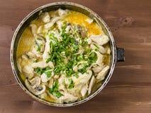 Galinha Stewed com cogumelos Fotos de Stock