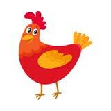 Galinha vermelha dos desenhos animados engraçados, galinha que está e que sorri felizmente Foto de Stock Royalty Free