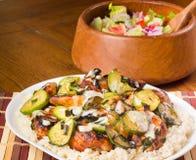 Galinha, Zucchini e arroz Fotografia de Stock