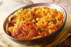 Galinhada -炖煮的食物鸡,典型的巴西盘 米做与 免版税库存照片