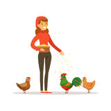 Galinhas de alimentação da mulher do fazendeiro, ilustração do vetor da criação de animais de aves domésticas Fotografia de Stock Royalty Free