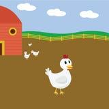 Galinhas dos desenhos animados na exploração agrícola Imagem de Stock