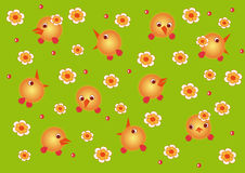 Galinhas e flores Ilustração Stock
