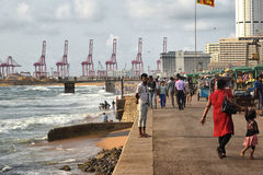 Gall face view of Colombo Harbour Container Terminals Royalty Free Stock Photos