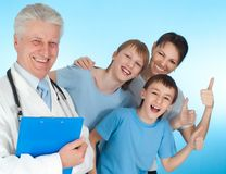 Gallant family with children. Fun family with children go to the doctor Stock Photo