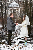Gallant groom and bride in winter woods. On wedding day Royalty Free Stock Images