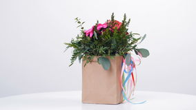 Gallantly present a bouquet and poems for your beloved stock footage