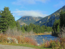 Gallatin River in the Fall. Beautiful colors line the banks of the Gallatin River in early Fall in Montana stock image