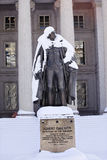 Gallatin Statue Snow US Treasury Washington DC Royalty Free Stock Photo