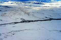 Gallatinflod Boseman Montana för flyg- sikt Fotografering för Bildbyråer