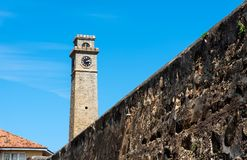 Galle fort clock tower in Sri Lanka. On a sunny day dutch fortress morning view building tropical sky travel landmark wall old tourism ceylon asia island royalty free stock images