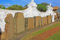 Galle Fort Dutch Reformed Church`s Gravestones, Sri Lanka UNESCO World Heritage. Originally built in 1640, the present building dates from 1752. Its floor is Royalty Free Stock Photo