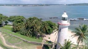 Galle Lantern Sri Lanka Palms Aerial 4k. Aerial footage of a lantern in Galle, Sri Lanka. Slowmotion footage in 4k stock footage