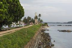 GALLE SRI LANKA, GRUDZIEŃ, - 09, 2016: Teren blisko latarni morskiej, fort fotografia stock