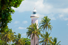 GALLE, SRI LANKA - JANUARY 26, 2016: beautiful lighthouse surrou Stock Images