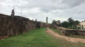 Galle, Sri Lanka, the main wall of the fortress side facing the chapel