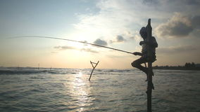 GALLE, SRI LANKA - MARS 2014 : Silhouette de pêcheur plus âgé sur un poteau de pêche au coucher du soleil La pêche d'échasse est  banque de vidéos