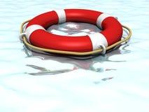 Galleggiamento lifebuoy dell'anello di vita in cima all'acqua blu Immagine Stock
