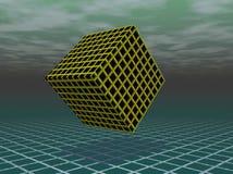 Galleggiamento nero e giallo del cubo Fotografie Stock Libere da Diritti