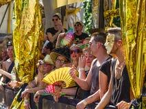 Galleggiante dorato al gay Pride Parade Fotografie Stock Libere da Diritti