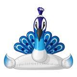 Galleggiante gonfiabile dell'anello di nuotata del pavone - stile del fumetto di vista frontale Fotografia Stock