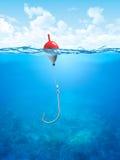 Galleggiante, riga di pesca ed underwater dell'amo Immagine Stock Libera da Diritti