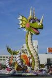 Galleggiante sveglio del drago di Rose Parade famosa Fotografia Stock Libera da Diritti