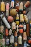 Galleggianti della rete da pesca, Seaview, WA immagini stock