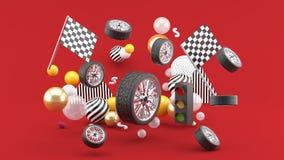 Galleggianti della ruota in mezzo delle bandiere e dei semafori e palle variopinte su un fondo rosso illustrazione di stock
