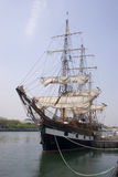 Galleon. Old galleon, restaurated and ready for the Ocean in Dublin Stock Image