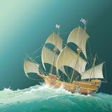 Galleon. Mayflower in heavy sea on the way to America