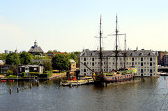 Amsterdam,Galleon,battleship,channel,holland. Amsterdam. The national maritime museum  with dutch galleon visited Stock Photography
