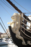 Galleon close up. Close up of a detail from an old Galleon ship in Alicante harbor stock photos