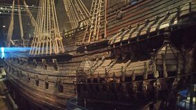 Galleon in dry dock Stock Images