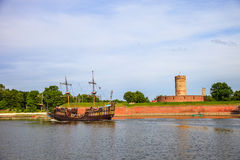 Galleon and Fortress Royalty Free Stock Images