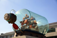 Galleon in a glass bottle Royalty Free Stock Photography