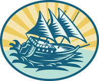 Galleon historical ship sailing. Illustration of a galleon historical ship sailing the big waves stock illustration