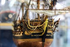 Galleon model detail made of wood. stock images