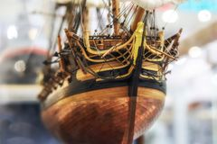 Galleon model detail made of wood. royalty free stock photography