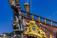 galleon Neptun的细节在热那亚口岸,意大利的 免版税库存图片