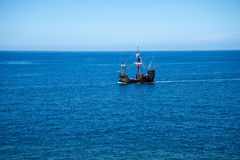 Galleon off Camara de Lobos is a fishing village near the city of Funchal and has some of the highest cliffs in the world Royalty Free Stock Image