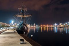 Galleon in the port stock image