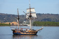A galleon in the river. Royalty Free Stock Photography