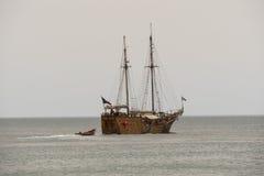 Galleon on the sea, touristic ship Royalty Free Stock Photos