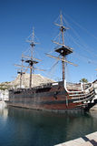 Galleon ship. Old galleon ship in the Alicante harbour in spain stock photos